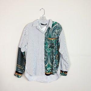 Zara | mixed media stripe & silk button up top M